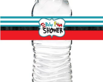 Dr. Seuss Baby Shower Water Bottle Labels