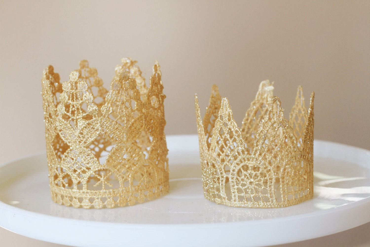 Cake Decoration Crown : Twins crown cake toppers prince and princess cake toppers