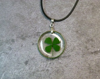 Circle Clover Pendant on black cord
