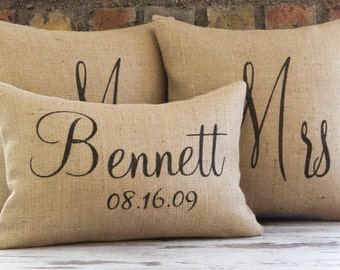 wedding gift, mr mrs pillow, wedding pillow, burlap pillow cover, mr and mrs, personalized pillow, mr and mrs pillow, anniversary gift