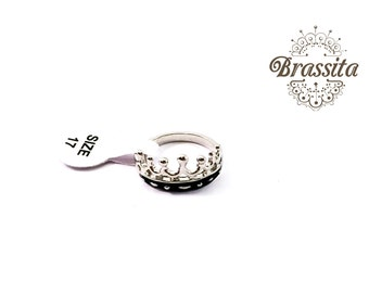 Silver Gold Crown Ring