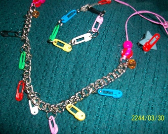 BRIGHT AND BOLD! The Rainbow Clothes Pins Necklace, bracelet and Ring Set