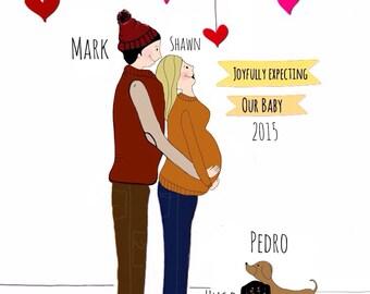 Joyfully Expecting-Pregnancy-custom cartoon portrait-print-endearing wall Art-Prints-Couples-maternity -expecting parents-cartoon portrait