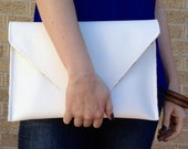White Faux Leather Envelope Style Clutch