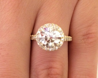 2.62 CT Round Cut h/vs2 Diamond Solitaire Engagement Ring 14k Yellow Gold
