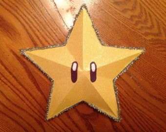 Retro Nintendo Super Mario Bros. Brothers Sparkly Glittery Christmas Holiday Yellow Gold Star Tree Topper Ornament Gift Decor Decoration