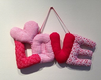 LOVE with heart fabric word