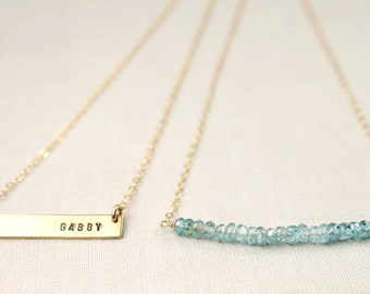 Personalized Bar and Gemstone Necklace Set • Personalized Name Bar • Gemstone Bar Necklace • Customized • Simple • Dainty • Delicate •Tiny