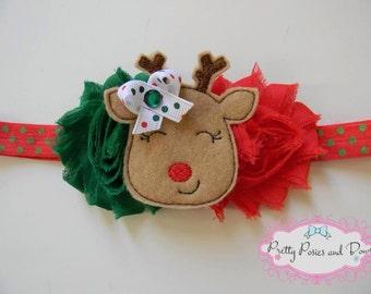 Reindeer Christmas Headband, Reindeer Headband, Christmas Heaband, Red and Green Headband