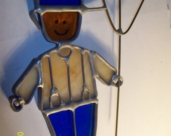 "Vintage Sun Catcher 5.75"" Farmer with Pitchfork"