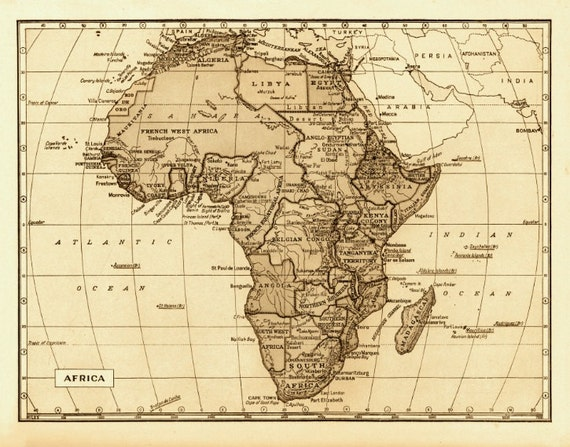 Items Similar To Map Of Africa 18x24\ Vintage 1800s Archival: Map Of Africa 1800s At Infoasik.co