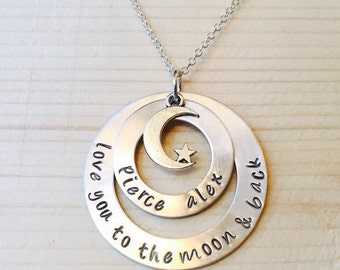 Love You To The Moon and Back Hand Stamped Necklace, Handstamped Mommy Jewelry