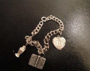 Sterling Silver Christian Charm Bracelet 291a