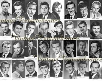 Soviet Film Actors Men Vintage Postcards Cinema Retro Movie Stars USSR Russian Soviet Union Era 1970s Portraits Set of 40 part 1