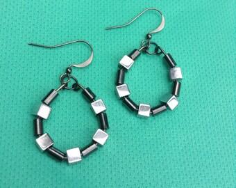 Handmade Gunmetal/Hematite Hoop Earrings, Gunmetal Cubes, Gunmetal Tubes, Gunmetal Earwires