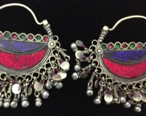 Afghanistan Earrings SIlver Hoop  Handmade Handcrafted Blue Red Green Purple Glass Kuchi Silver Gift for Her Bell Earrings Jewelry Birthday