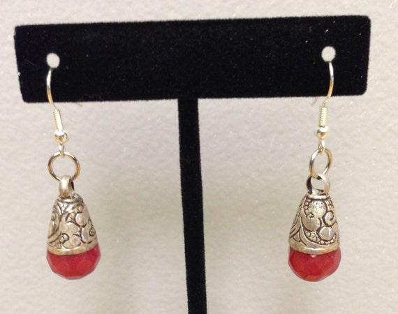 Tibetan Earrings Silver Handmade Handcrafted Red Carnelian Dangle Etched Silver Teardrop Gift for Her Jewelry Earrings Birthday