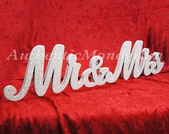 Mr & Mrs Freestanding Table top sign PAINTED Vine Script Monogram, Home Decor, Wedding Decor, Initial Monogram 61011P