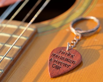Personalized - Handmade Exotic Wood Guitar Picks on Key Chains and Clip Chains