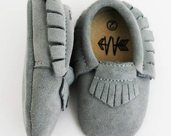 Brand New GREY SUEDE Moccasins Boys Girls Baby Toddler Shoes Soft Soles Moccs