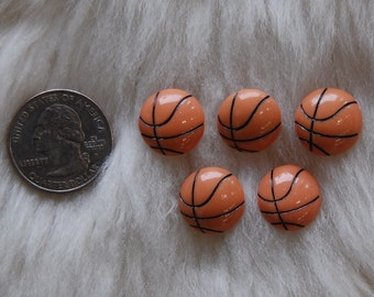 Mini Sporty Basketball Flatback Cabochons- 5pcs