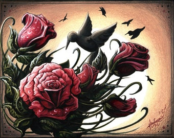 Hummingbirds and Roses Print