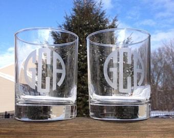 Etched Monogrammed Rocks Glasses - Set of 2