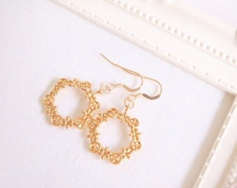 Gold Lace Charm Earring, 14K Gold Earring, Gold Filled Earring, Gold Plated Charm