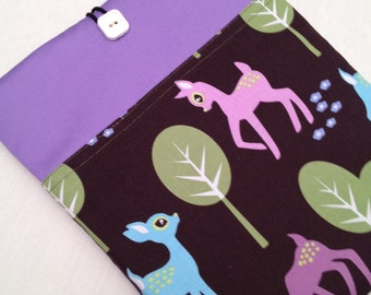 iPad mini padded sleeve / iPad mini case ./   Made in Maine / lavender case with pastel deer