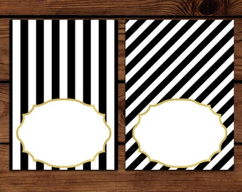 Black and White Striped Gold Blank Food Labels, Place Cards, Buffet Cards, or Party Labels! Printable Instant Download Customized DIY