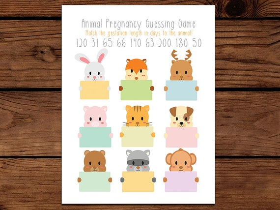 Animal Pregnancy Baby Shower Game - Guess the Gestation Period of Each Animal Comes with Answer Key - Adorable Baby Animal Baby Shower Game