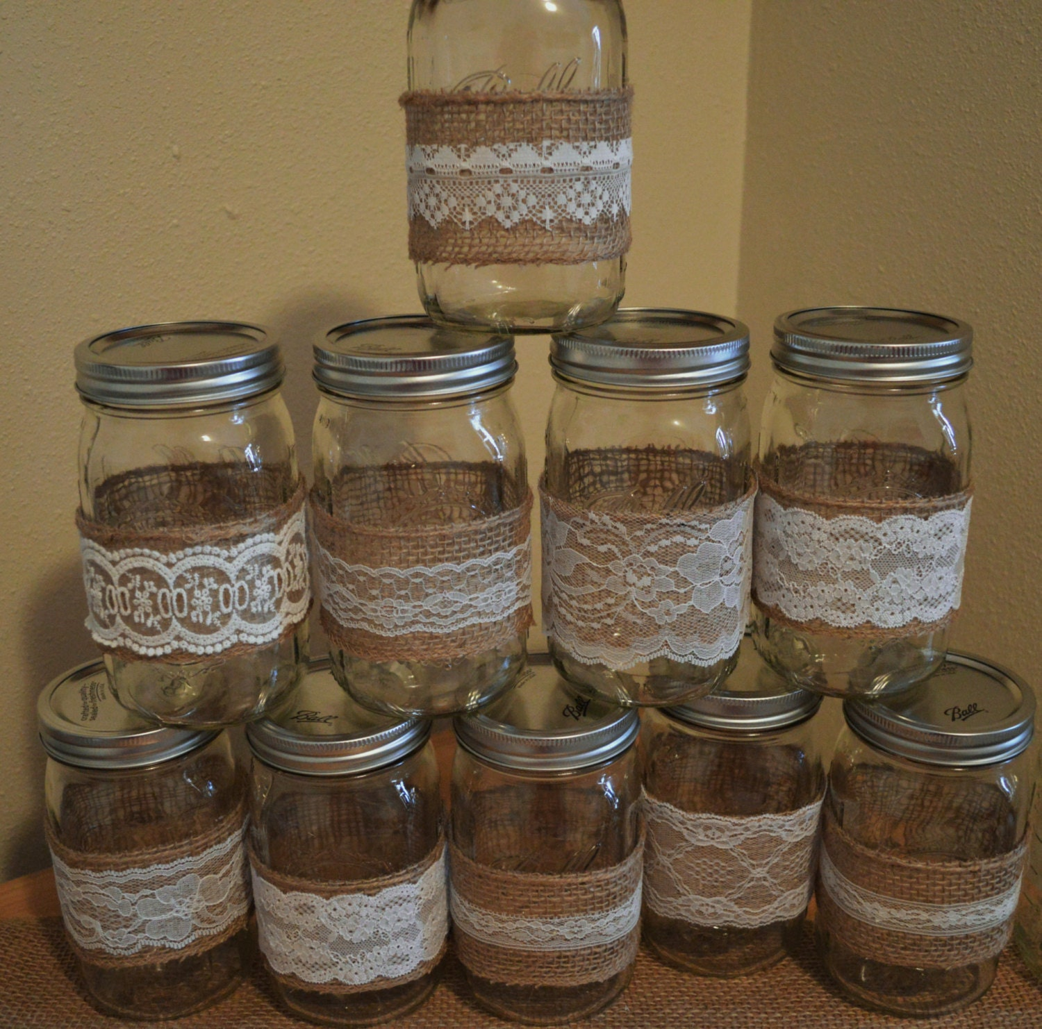 Rustic Jars For Wedding: 10 Burlap Mason Jar Sleeves DIY Wedding Decorations Rustic