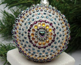 Colorful Plum & Green Kaleidoscope on White Christmas Ornament