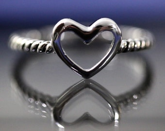 Sterling Silver Heart Ring Size 5.5 / Love