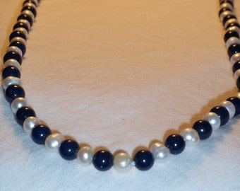32 inch lazuli lapis and pearl necklace