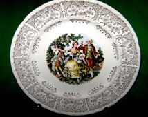 Vintage 40's Crooksville China Pattern CR010 Colonial Couple Dancing to Flute Player 9 Inch Dinner Plate or Wonderful Displace Piece