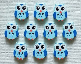 10 Wooden Owl Buttons  - #SB-00094