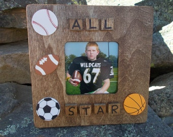 rustic wooden all star sports pictue frame, all star sports picture frame, rustic sports all star picture frame, sports picture frame