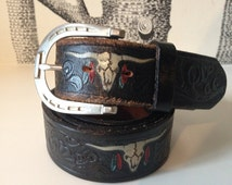Vintage 100% Genuine Leather Black Western Embossed Buffalo Belt Hand painted with Feathers