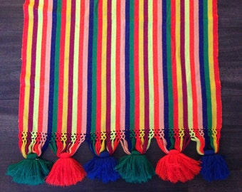 Colorful Vintage Table Runner with Large Pom Poms Peruvian