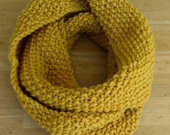 Hand-knitted Golden Infinity Scarf
