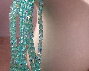 BAHAMA BOREALIS 3mm Firepolish AB Light Teal Czech Glass Faceted Rounds - Aqua Turquoise Teal Seafoam Green Aurora Borealis - Qty 50 (3-034)