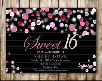 SWEET 16 BIRTHDAY Invitation, Sweet 15 Birthday Invite, Girls 16th Birthday, Girl 15th Birthday, Quinceanera, Quince, Pink and Silver