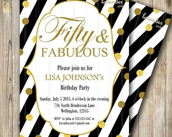 FIFTY and FABULOUS Invitation, Black Stripes Birthday Invite, Women 50th Birthday, Fabulous at 60, Confetti, Any Age, Black and Gold