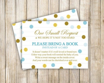 Bring a Book Baby Shower, Blue Gold Card Insert, Book Insert Card, Blue Gold Polka Dots, Boy Baby Shower, Instant Download, DIY Printable