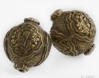 Handmade vintage Tibetan heavy brass repoussé bead 24x22mm.  1 pc. b18-0348(e)