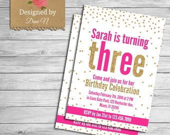 Girl Shabby birthday invitation, glitter birthday invite, printable party, fashionable Stars, girl  fuchsia pink and gold