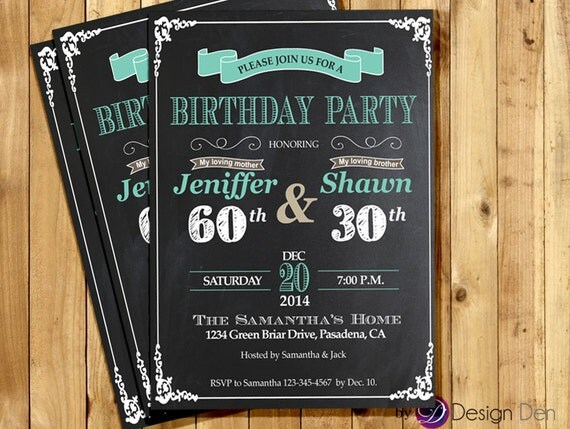 Printable Joint Birthday Party Invitations ~ Adult joint birthday invitation chalkboard white and teal