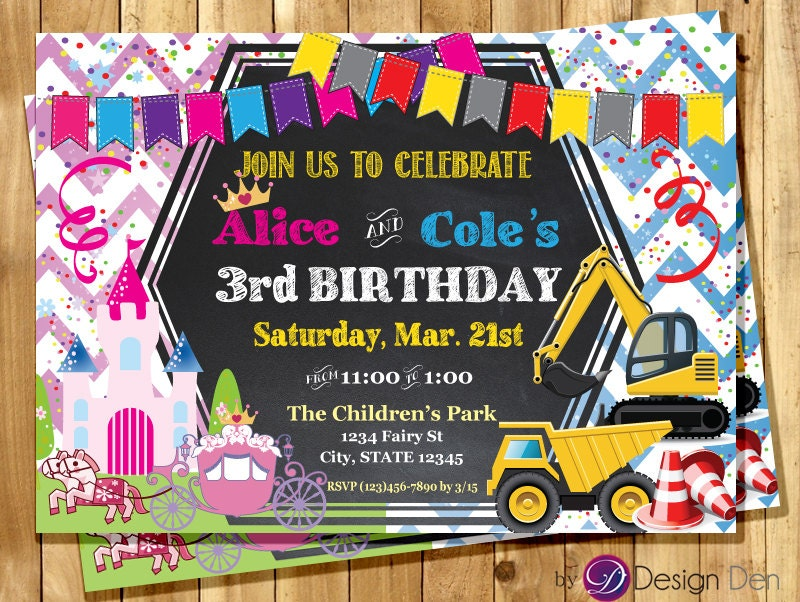 Printable Joint Birthday Party Invitations ~ Princess and construction joint birthday party invitation