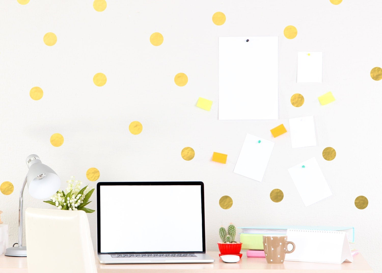 Gold Polka Dot Wall Decal Chic Home Decor by Twelve9Printing